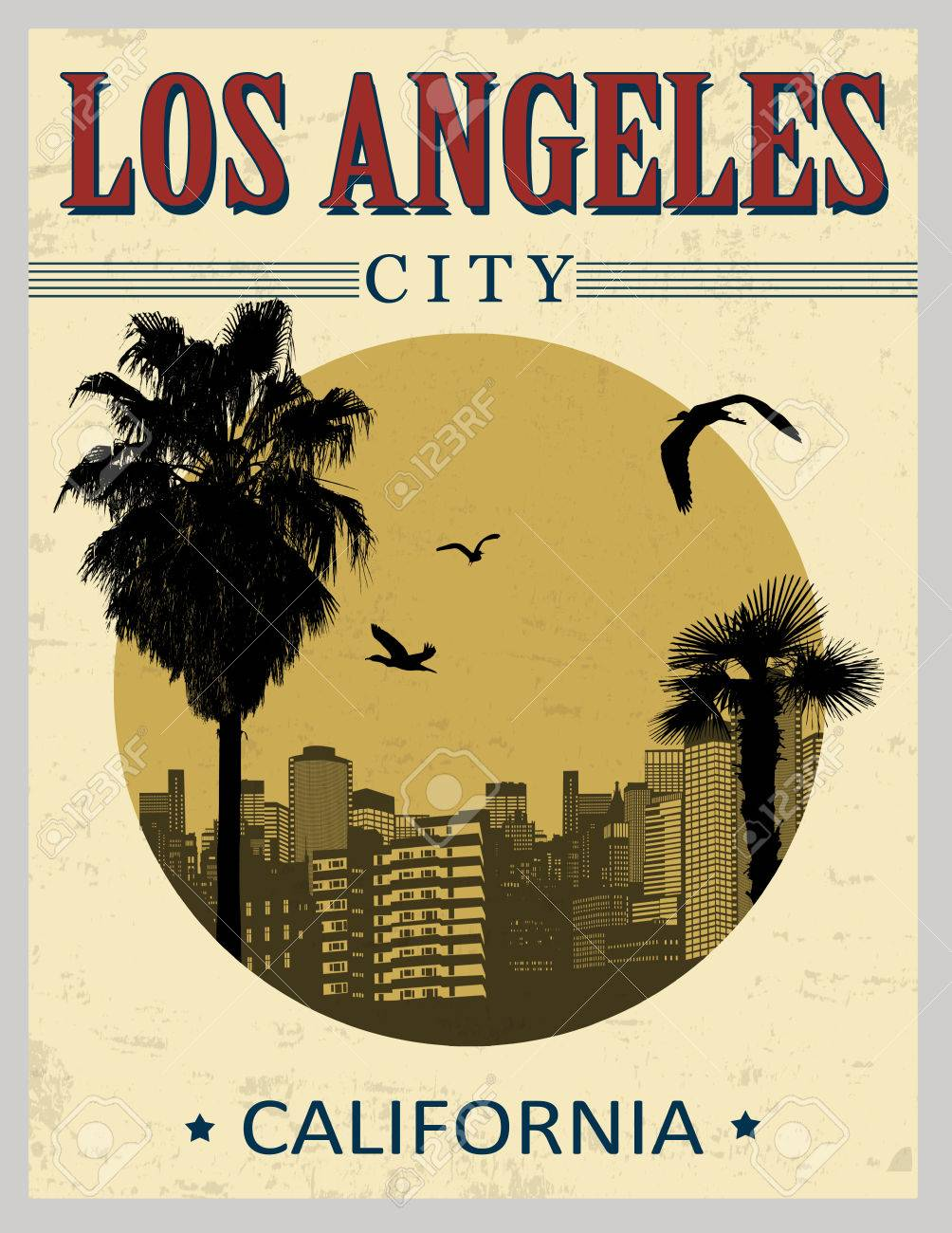 Los Angeles Stock Illustrations Cliparts And Royalty Free - Vintage los angeles map poster