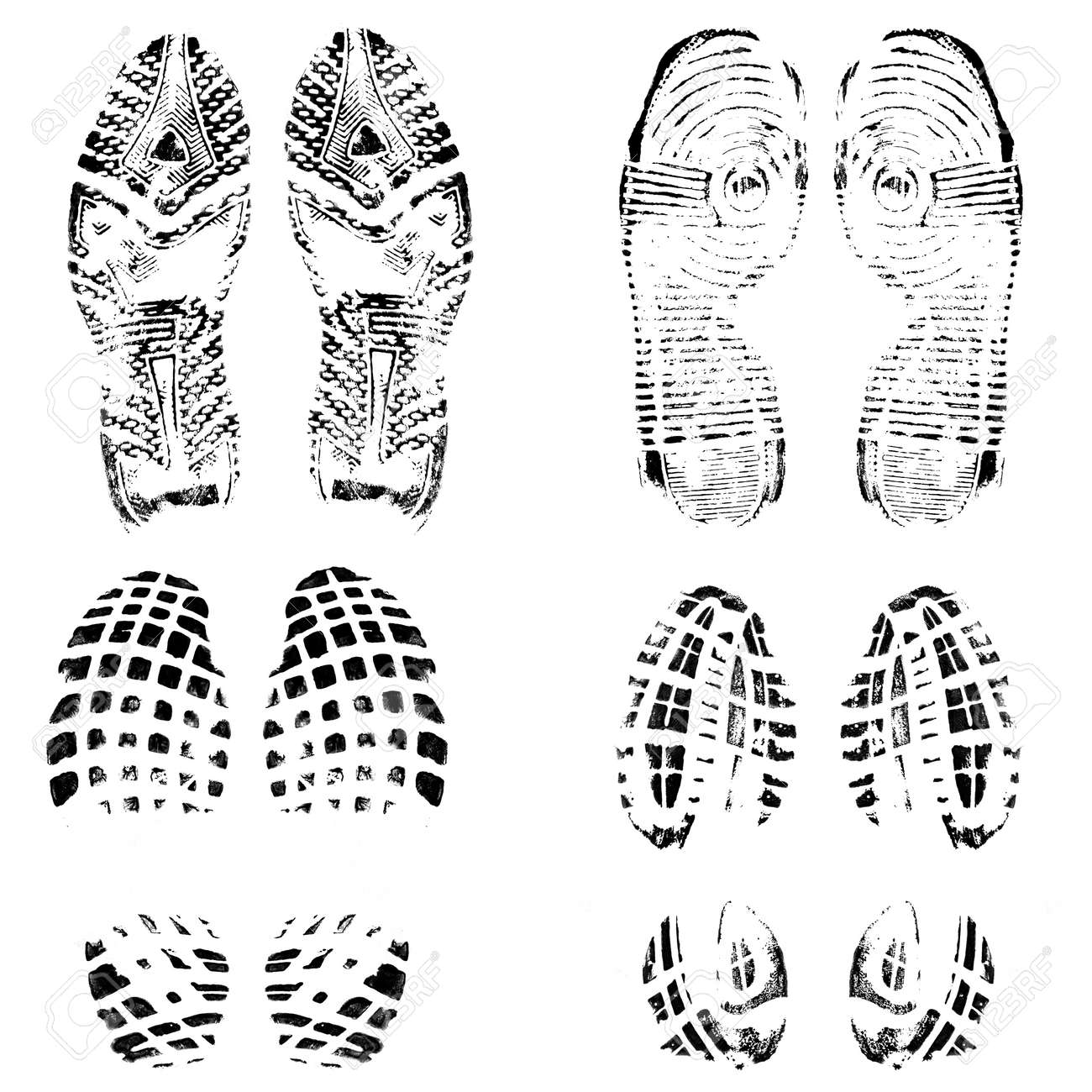 Set of four pairs of shoes print on white, vector illustration - 24192395