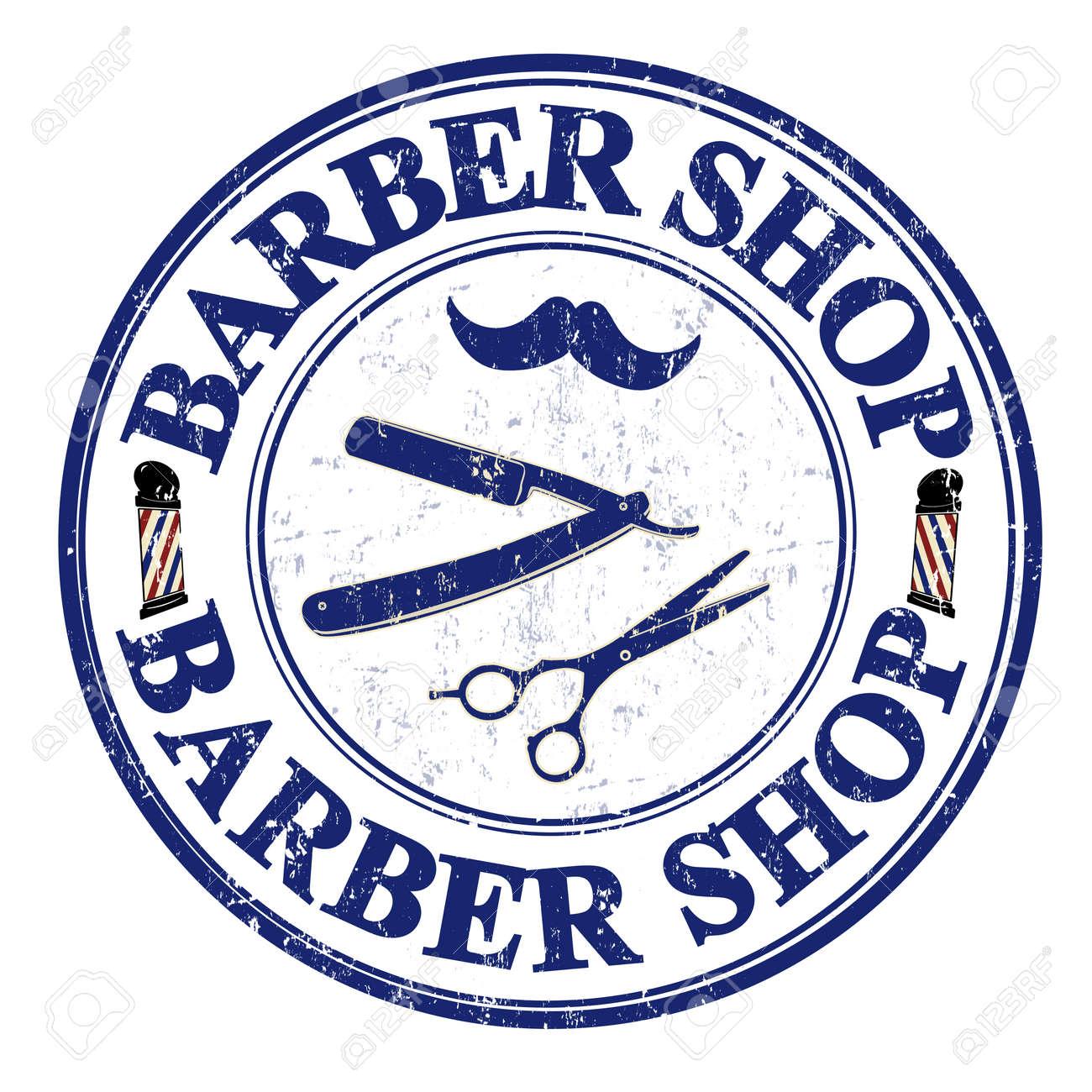 Barber shop grunge rubber stamp on white, vector illustration Stock Vector - 24533683
