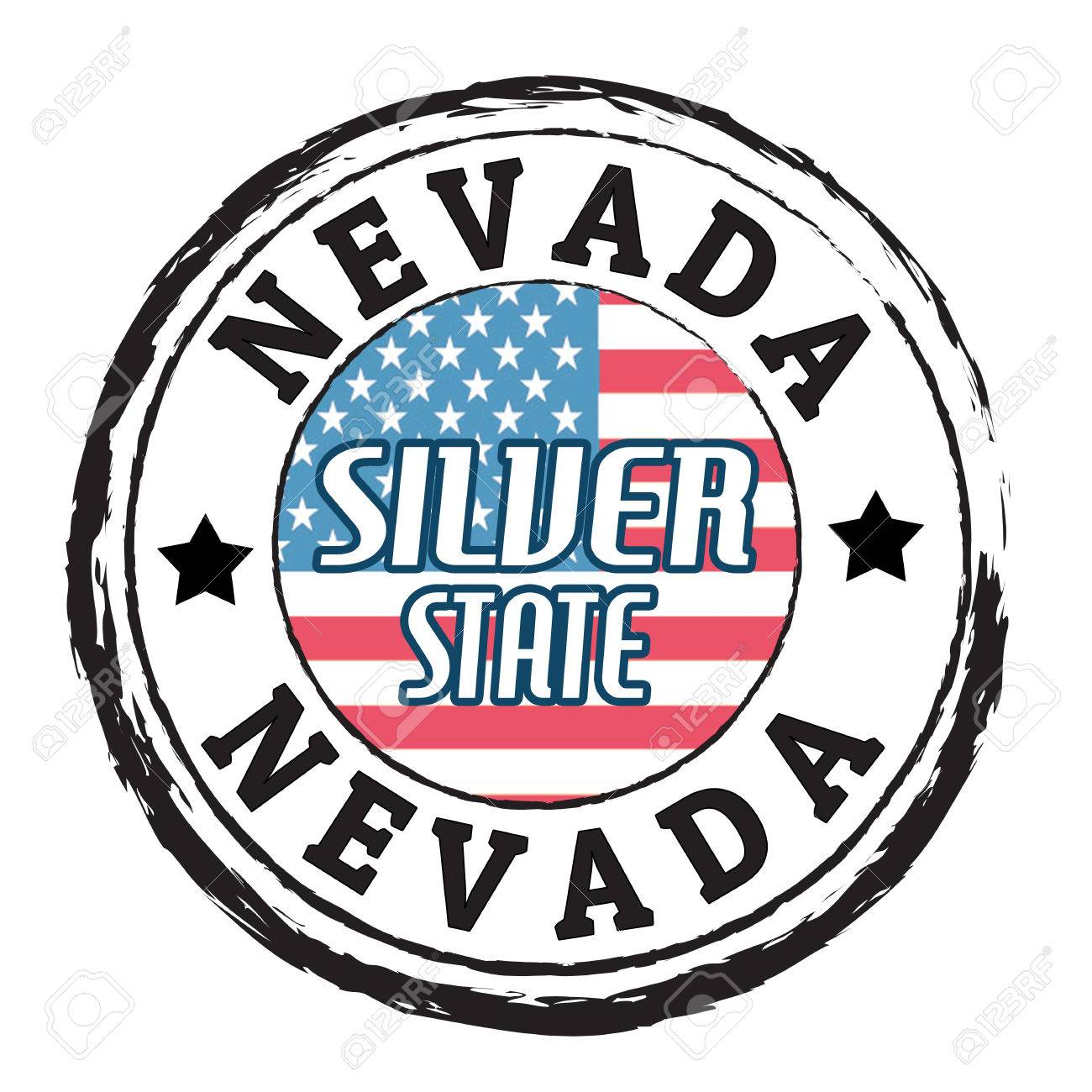 Grunge rubber stamp with flag and the text Nevada, Silver State Stock Vector - 24640819