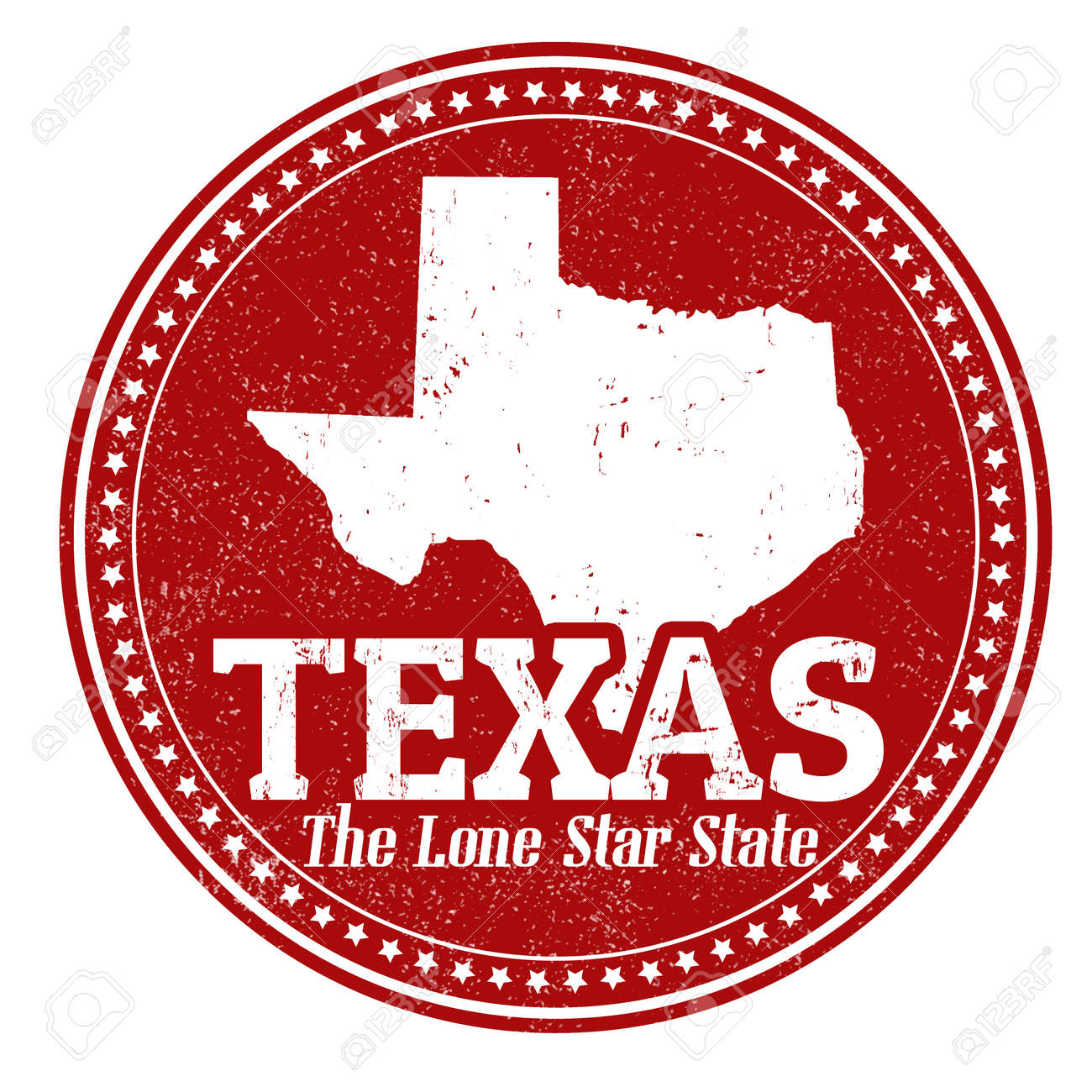 Vintage Stamp With Text The Lone Star State Written Inside And