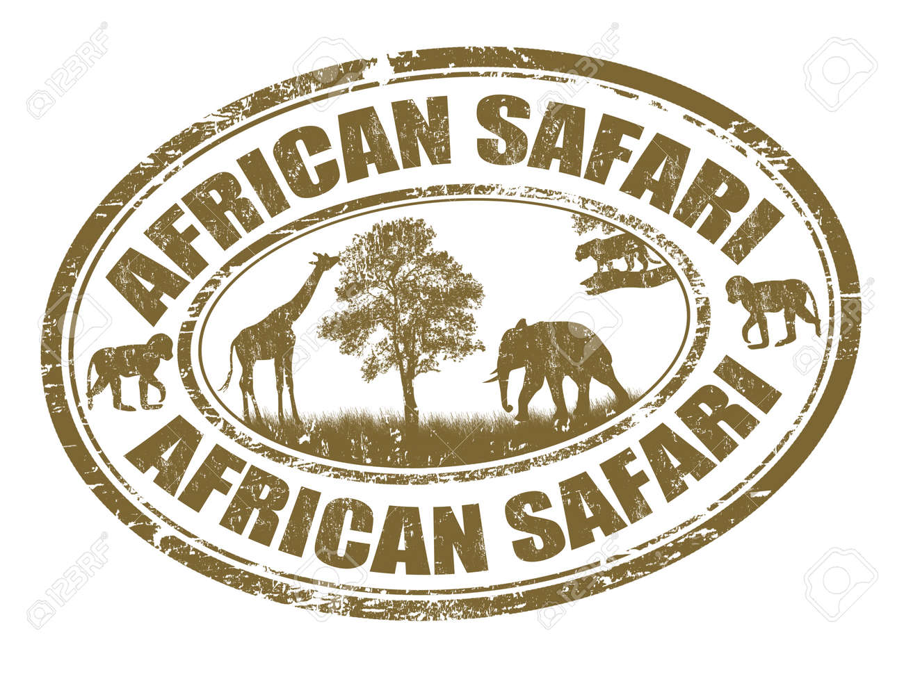 African safari grunge rubber stamp on white, vector illustration - 25402554