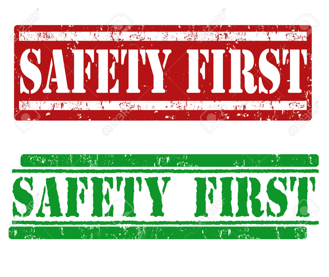 Safety first grunge rubber stamps on white Stock Vector - 25502494
