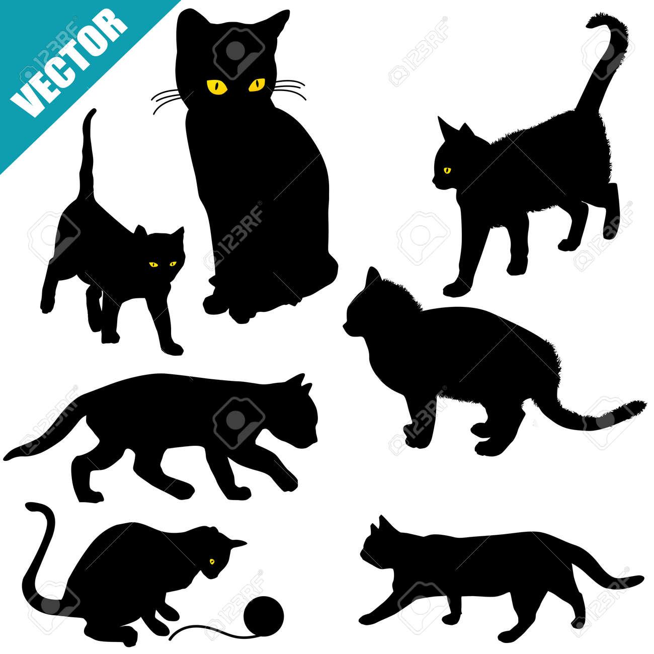 silueta de gato negro Siluetas de los gatos en el fondo blanco, ilustración vectorial