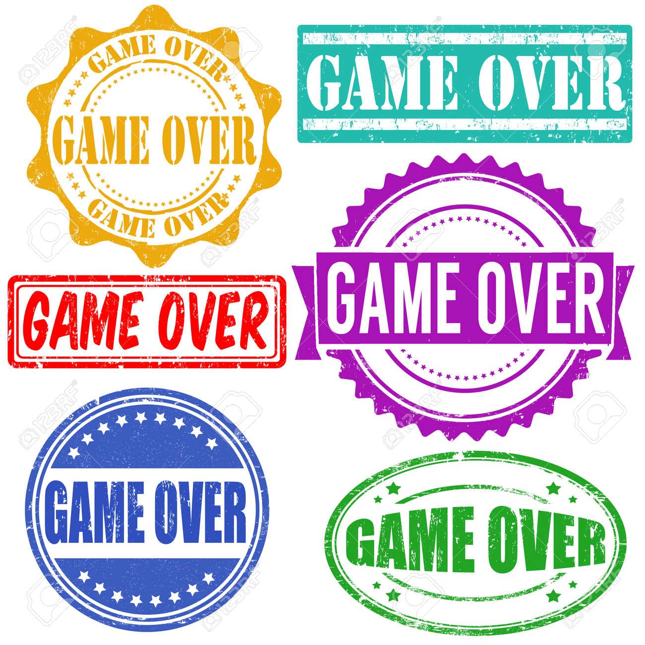 Game over vintage grunge rubber stamps set on white, vector illustration Stock Vector - 25528954