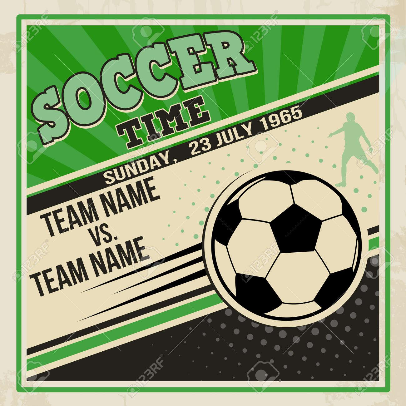 Retro Soccer Poster Design Vintage Grunge Sport Flyer Concept ...