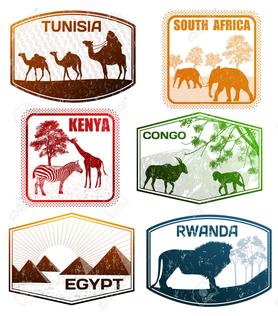 Stylized Passport Grunge Rubber Stamps Of Various African Countries Vector Illustration