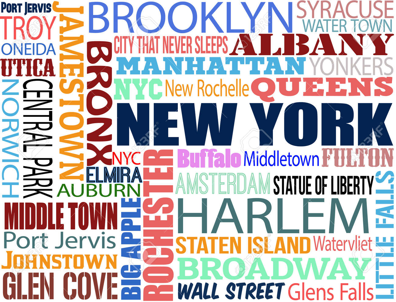 Collage with various words with new york boroughs and symbols collage with various words with new york boroughs and symbols on white background vector illustration buycottarizona Image collections