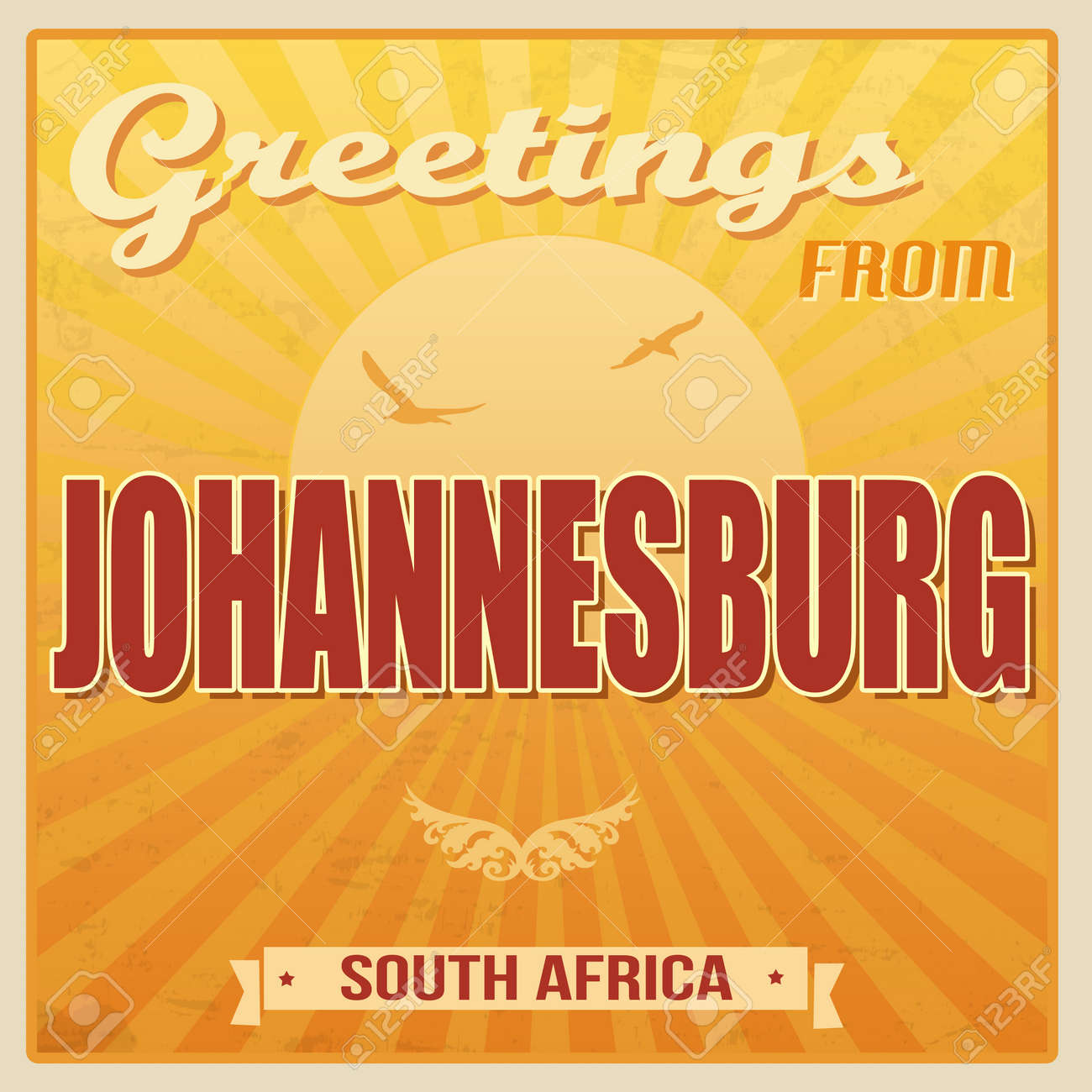 Vintage Touristic Greeting Card Johannesburg South Africa