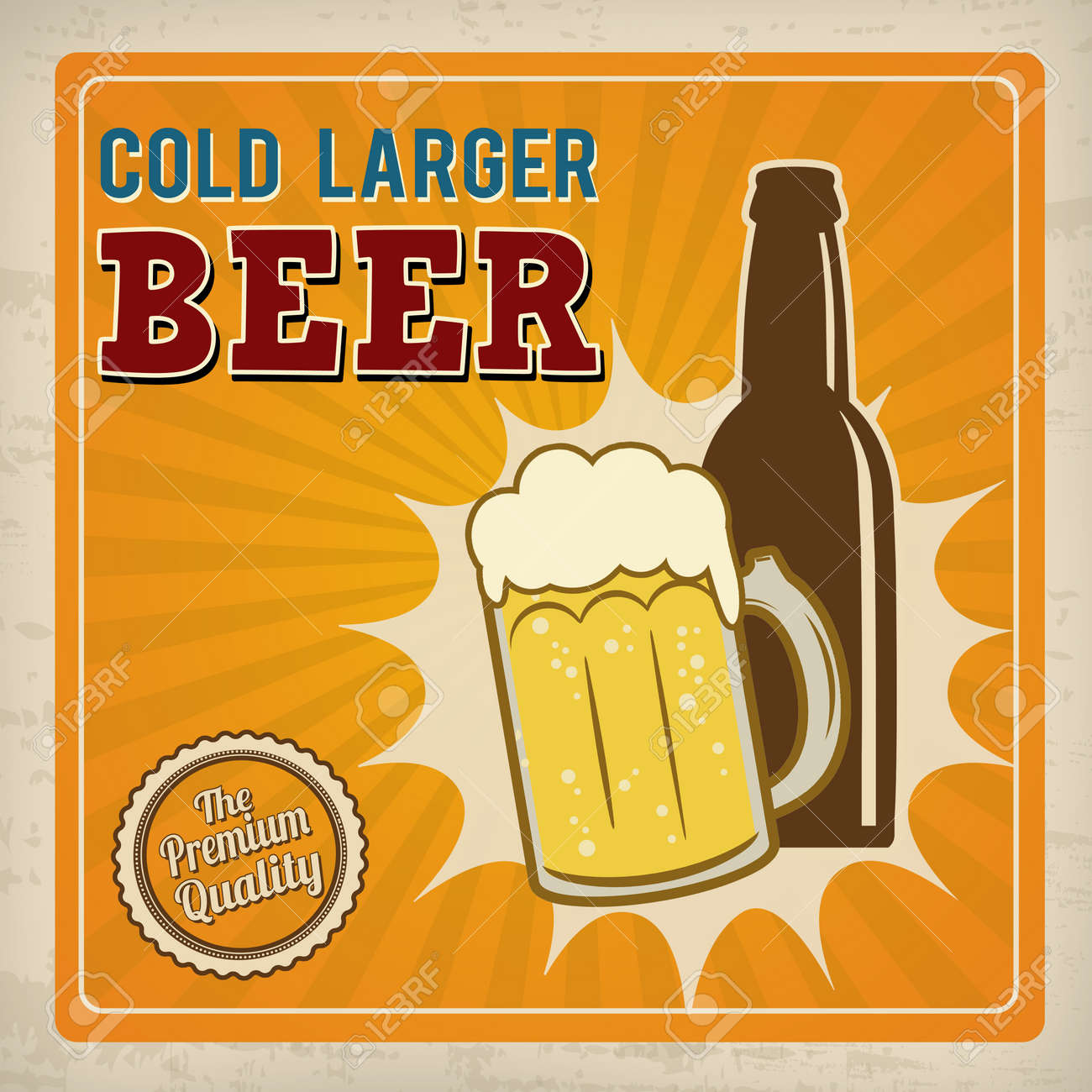 Cold Larger Beer Poster In Vintage Style Vector Illustration Stock
