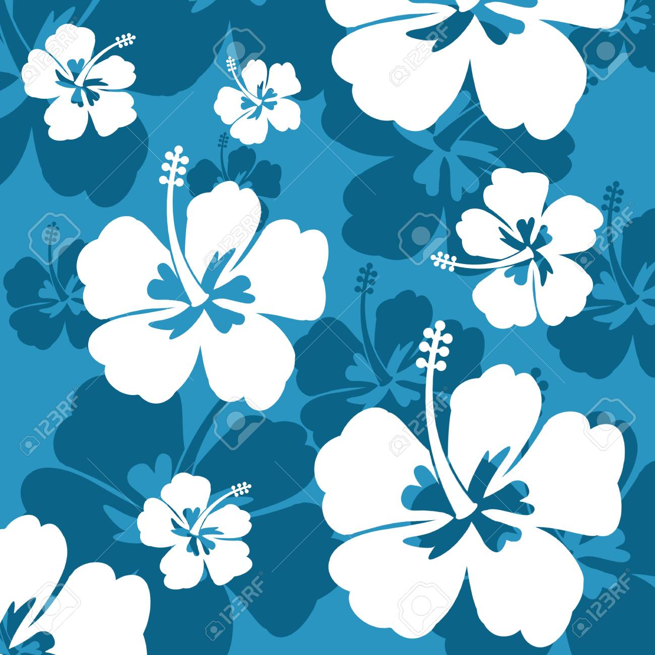 Seamless Pattern With Hibiscus Flowers On Blue Background Vector