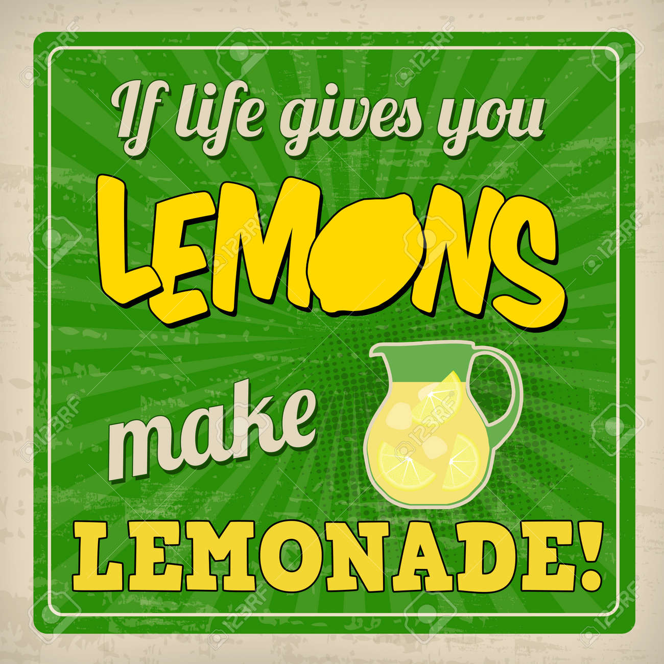If Life Gives You Lemons Make Lemonade Poster In Vintage Style ...