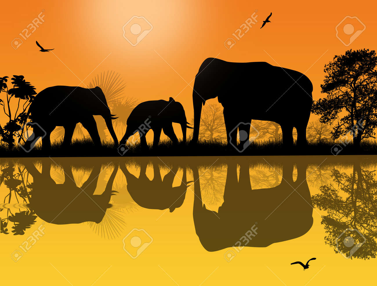 elephants silhouette in africa near water at beautiful sunset stock vector 30818381