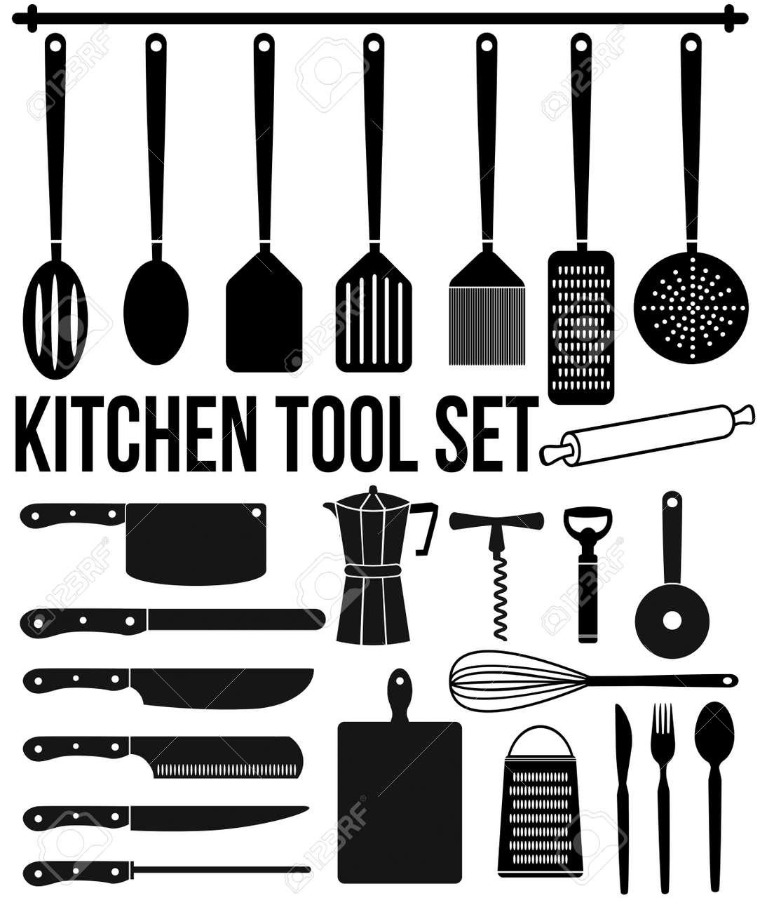 archivio fotografico icone degli strumenti da cucina impostata su sfondo bianco illustrazione vettoriale