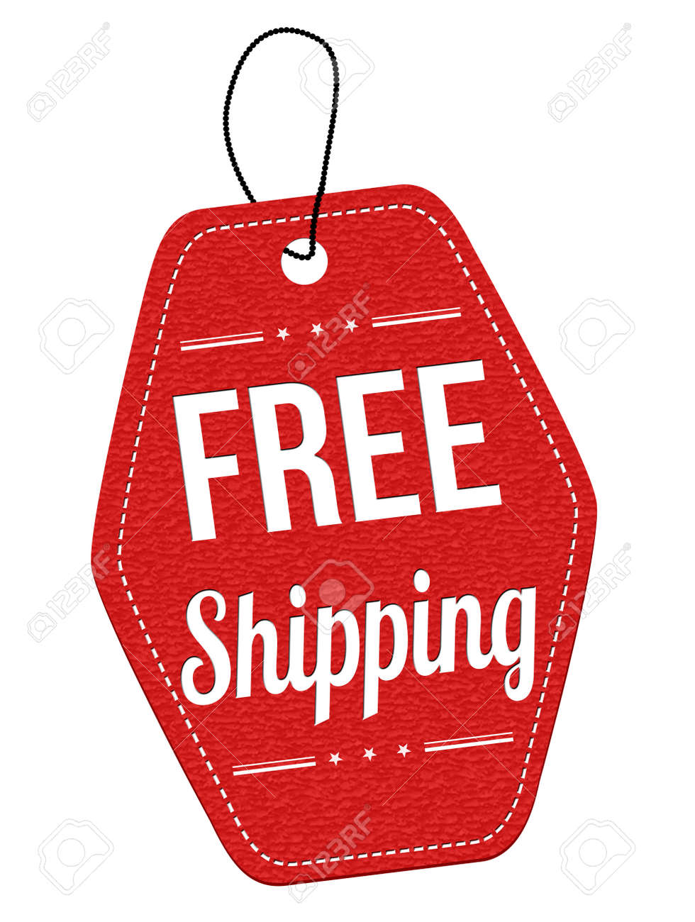 free shipping red leather label or price tag on white background