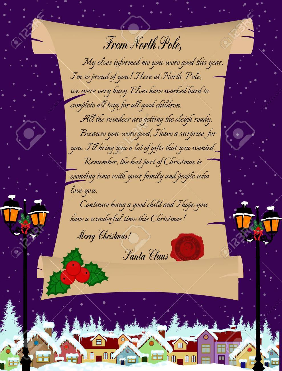 Vector Illustration Of A Letter From Santa Claus On Purple Royalty