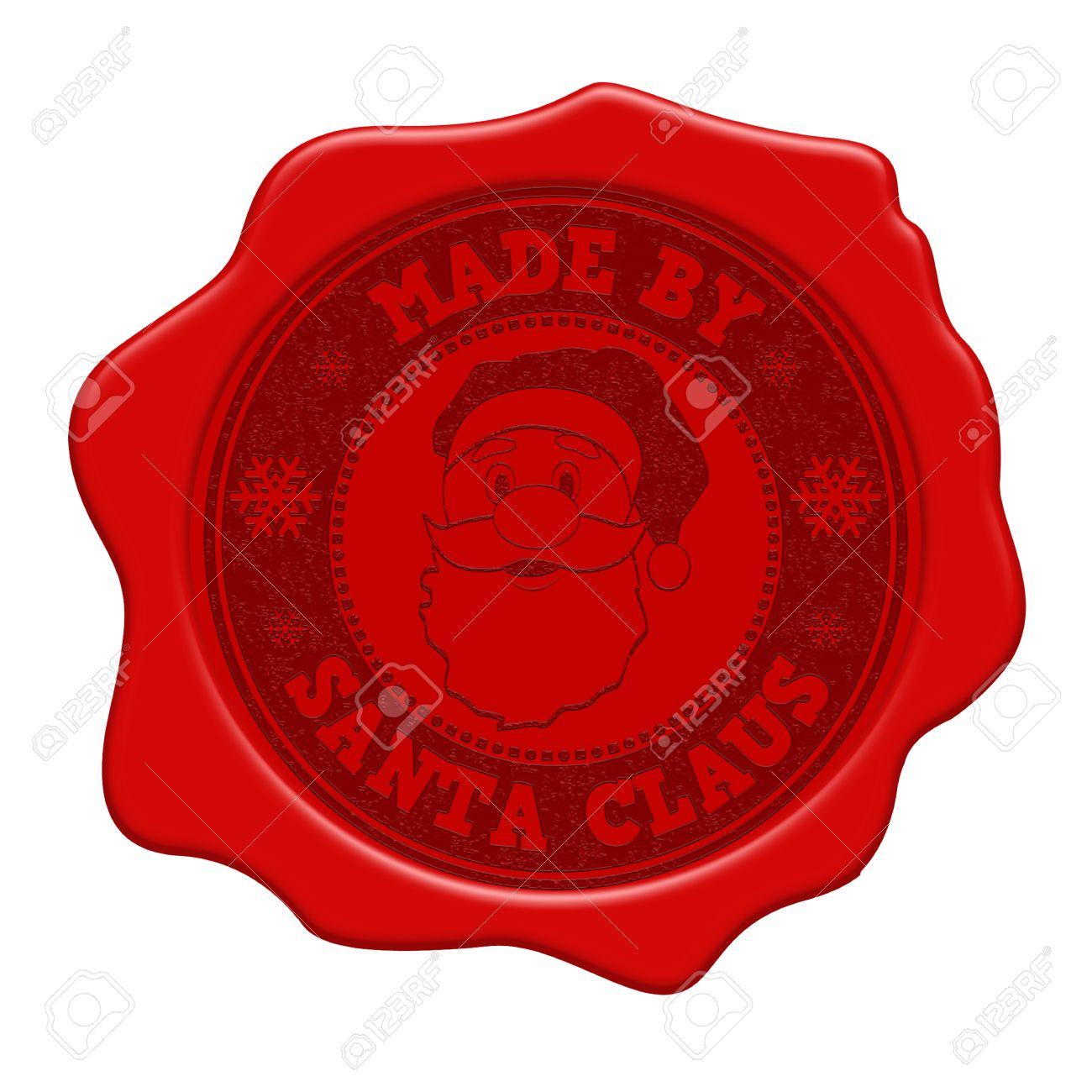 Hergestellt Von Weihnachtsmann Rot Siegel Isoliert Auf Weißem ...
