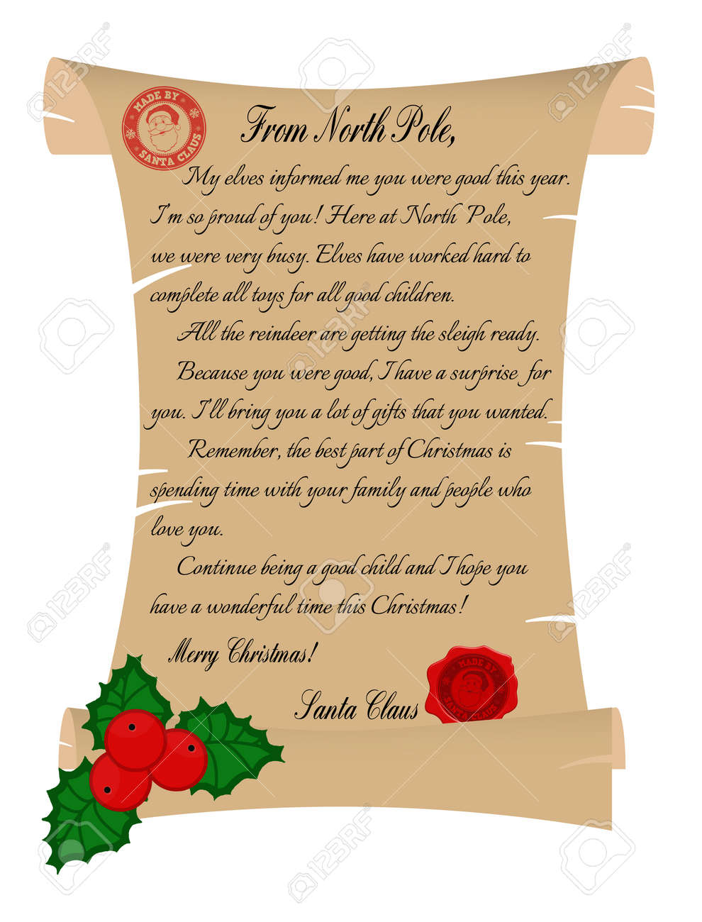 Vector Illustration Of A Letter From Santa Claus On White Background Royalty Free Cliparts Vectors And Stock Illustration Image 34655577