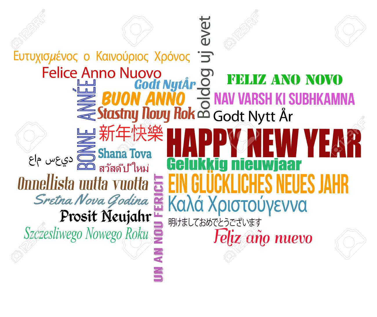 Happy New Year In Different Language. Words Cloud On White Background,..  Royalty Free Cliparts, Vectors, And Stock Illustration. Image 34742419.