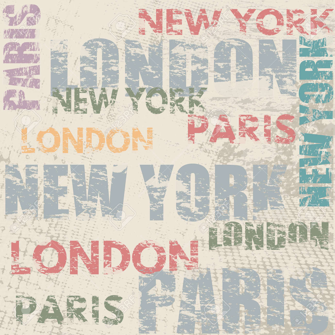 Poster design london - Typographic Poster Design With City Names London Paris And New York On Grunge Scratched Background