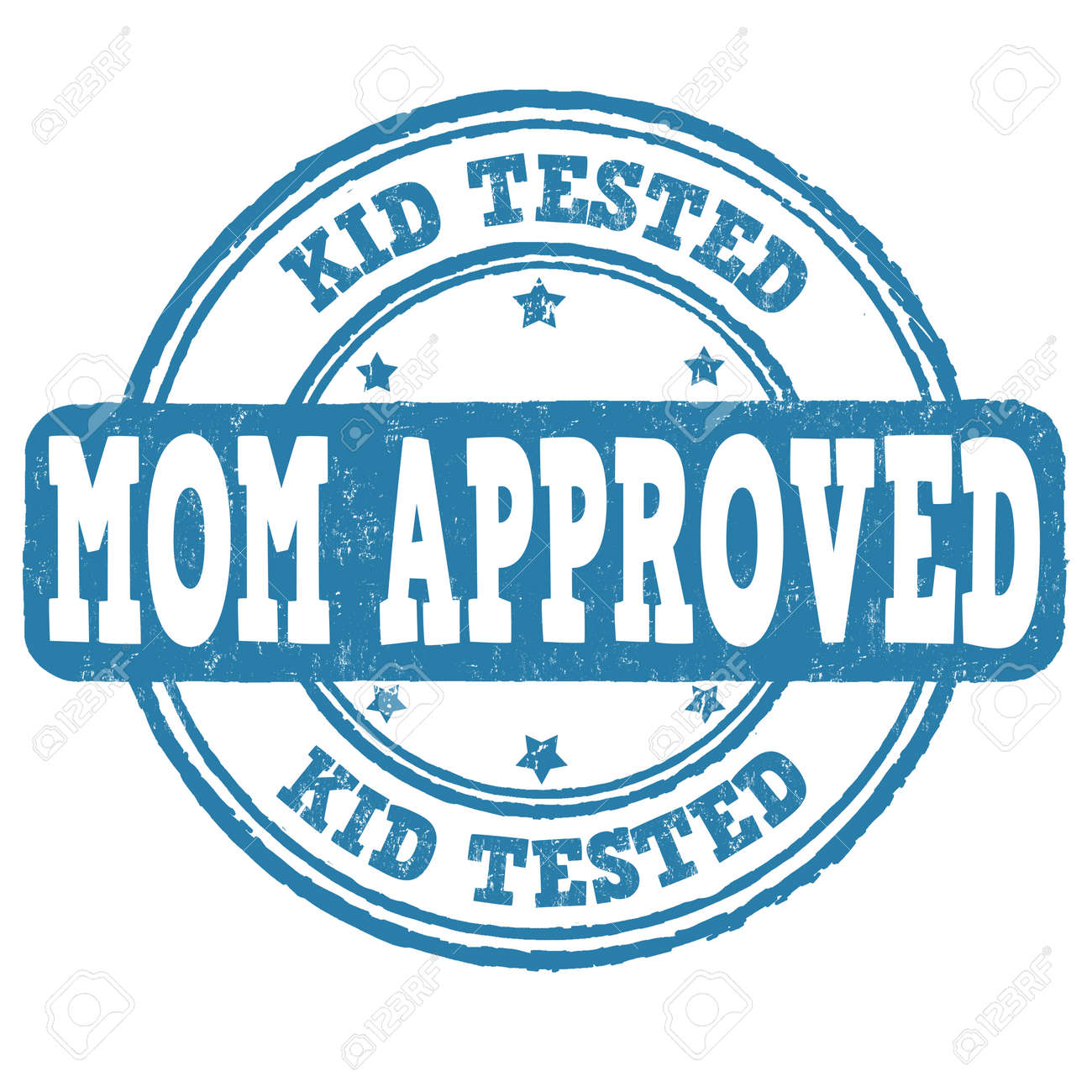 Kid Tested Mom Approved Grunge Rubber Stamp On White Background Vector Illustration Stock