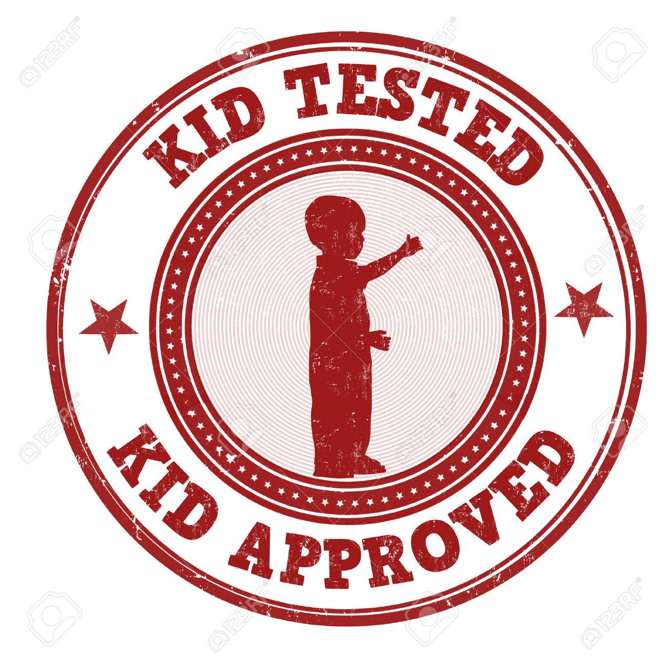 Kid Tested And Approved Grunge Rubber Stamp On White Background Vector Illustration Stock