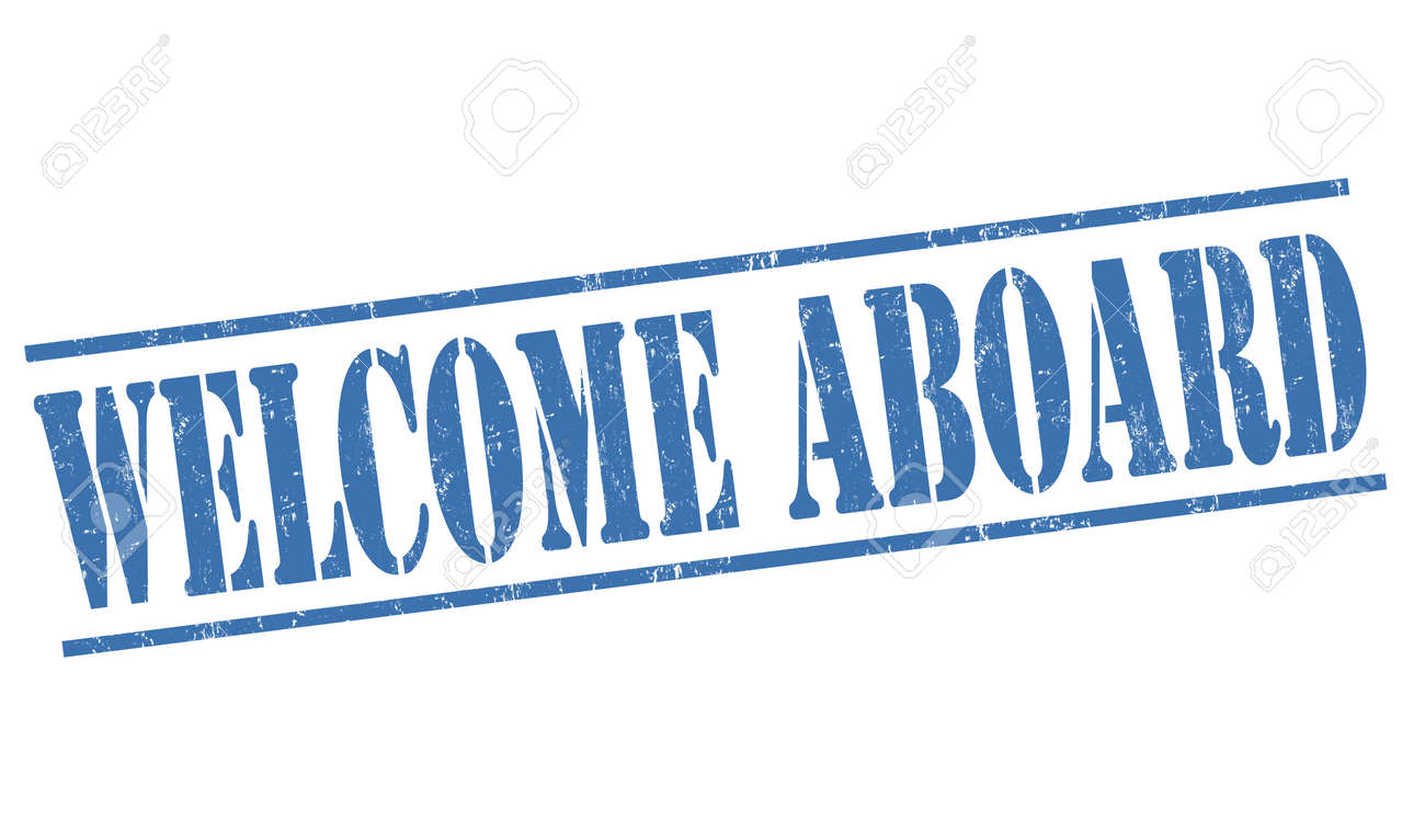 Welcome Aboard Grunge Rubber Stamp On White Background Vector
