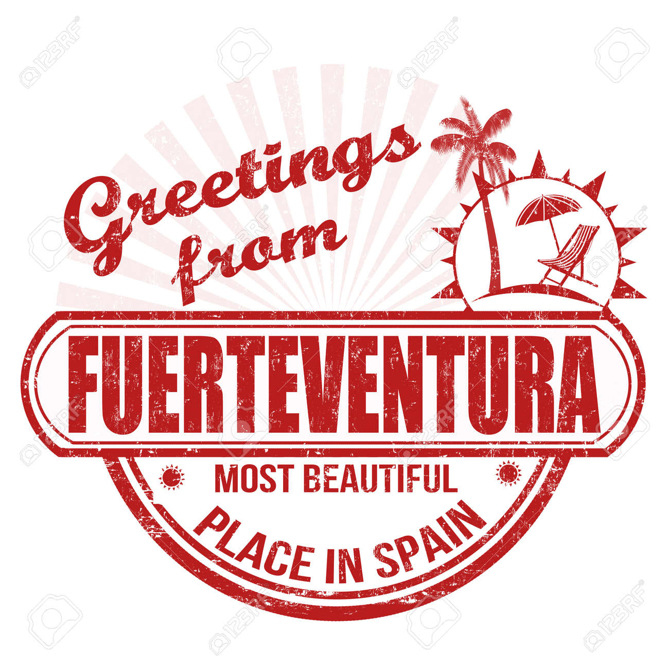 Grunge Rubber Stamp With Text Greetings From Fuerteventura Most
