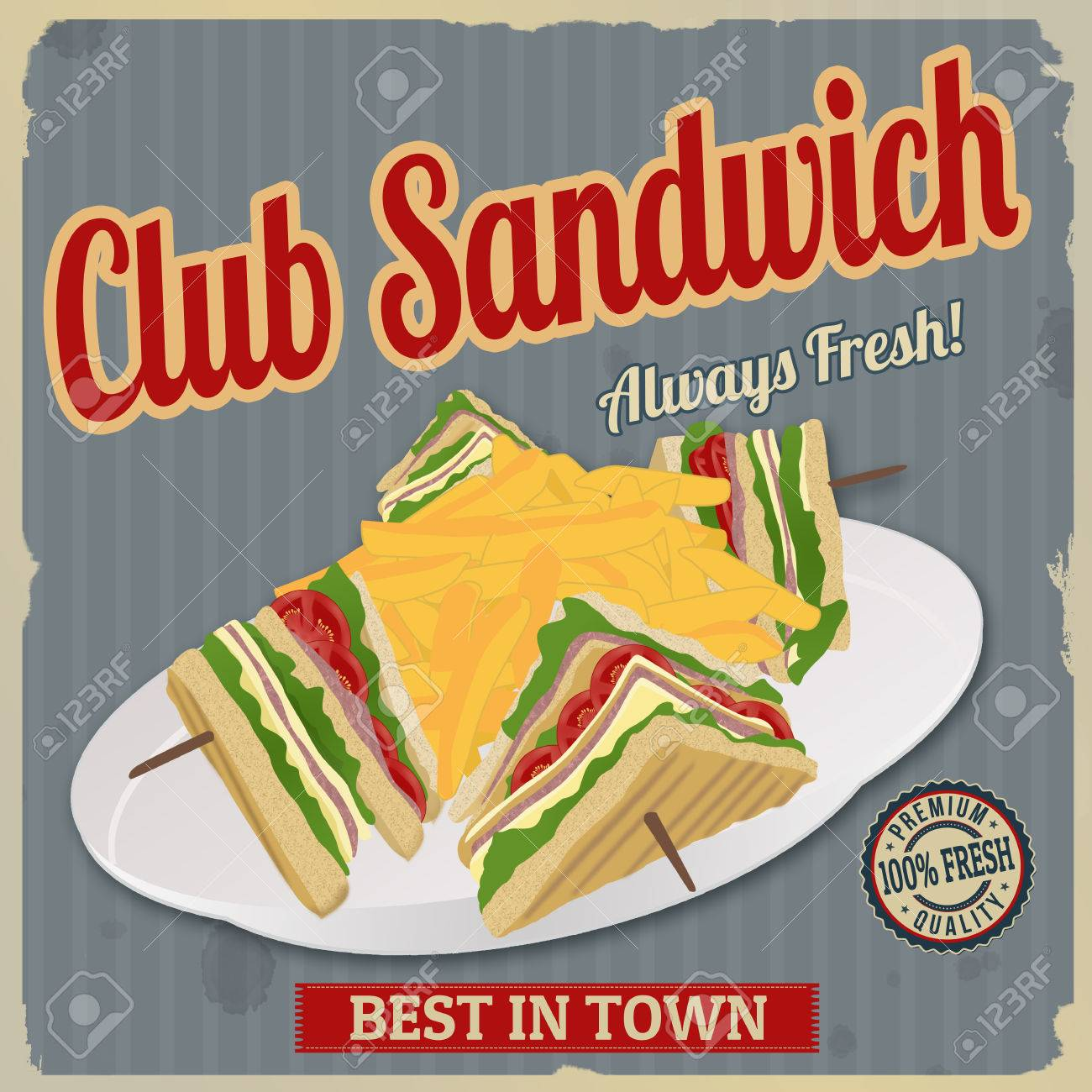 Club Sandwich Retro Poster In Vintage Style Vector Illustration
