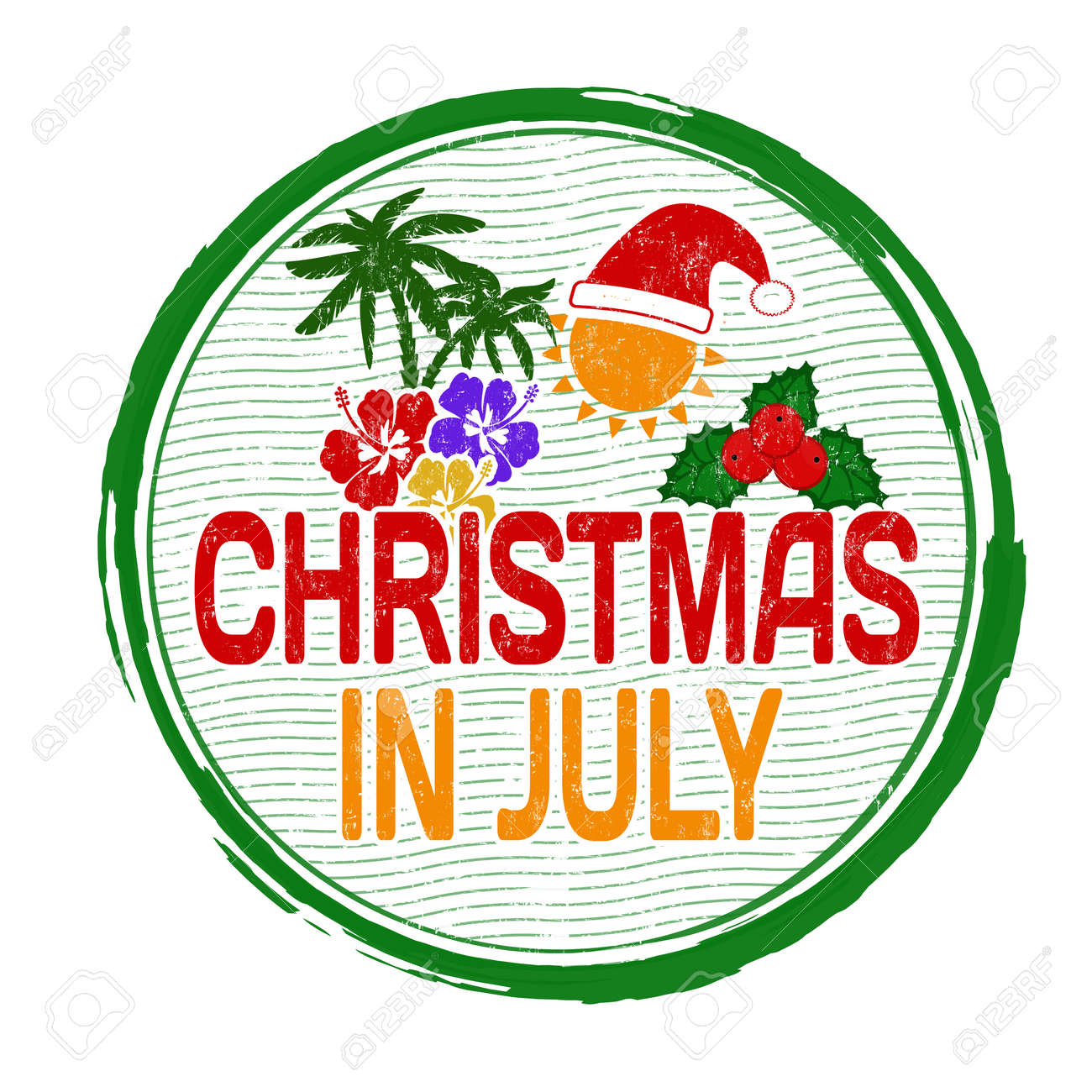 Christmas In July Clipart.Christmas In July Grunge Rubber Stamp On White Vector Illustration