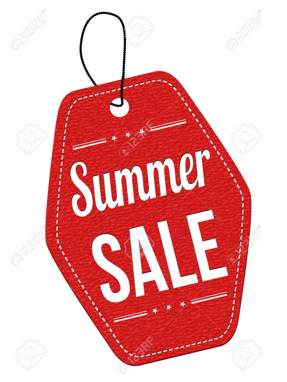 Summer Sale Roten Leder Label Oder Preisschild Auf Weißem