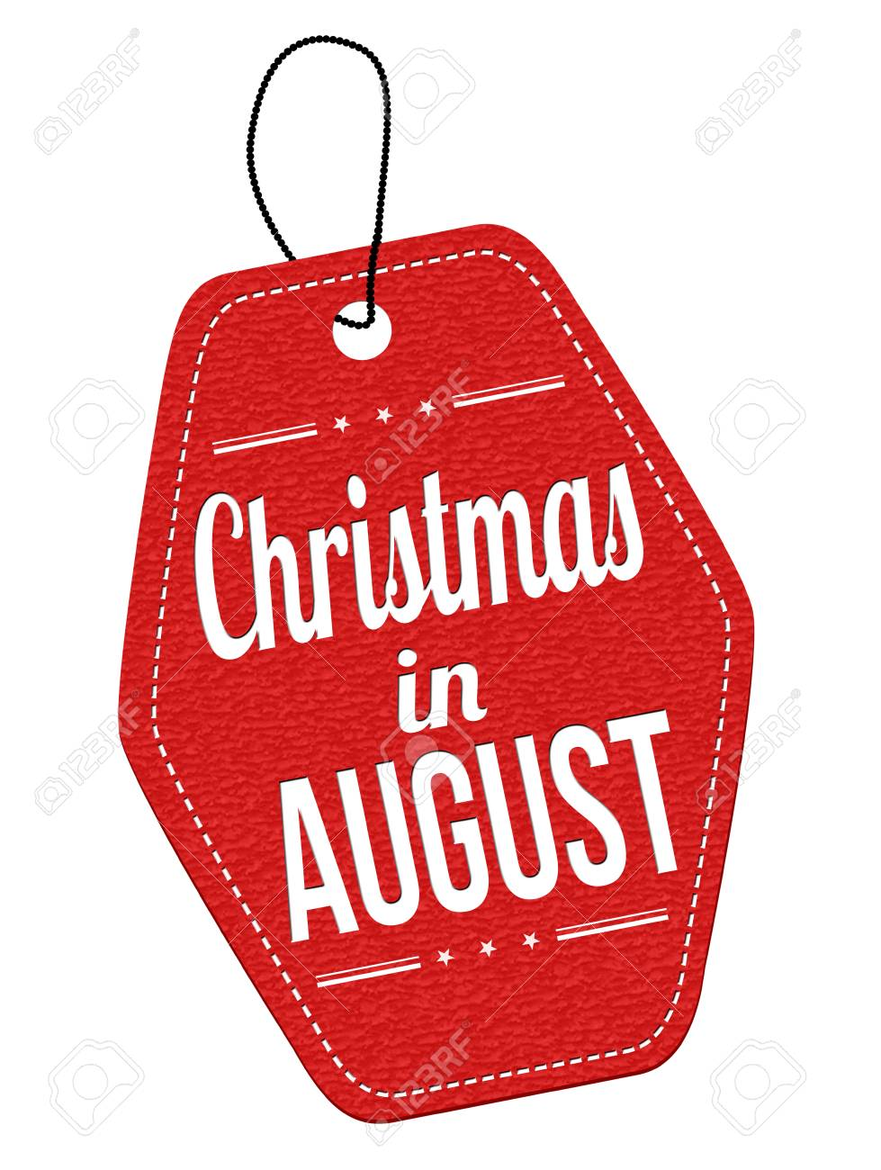 Christmas In August Clipart.Christmas In August Red Leather Label Or Price Tag On White Background