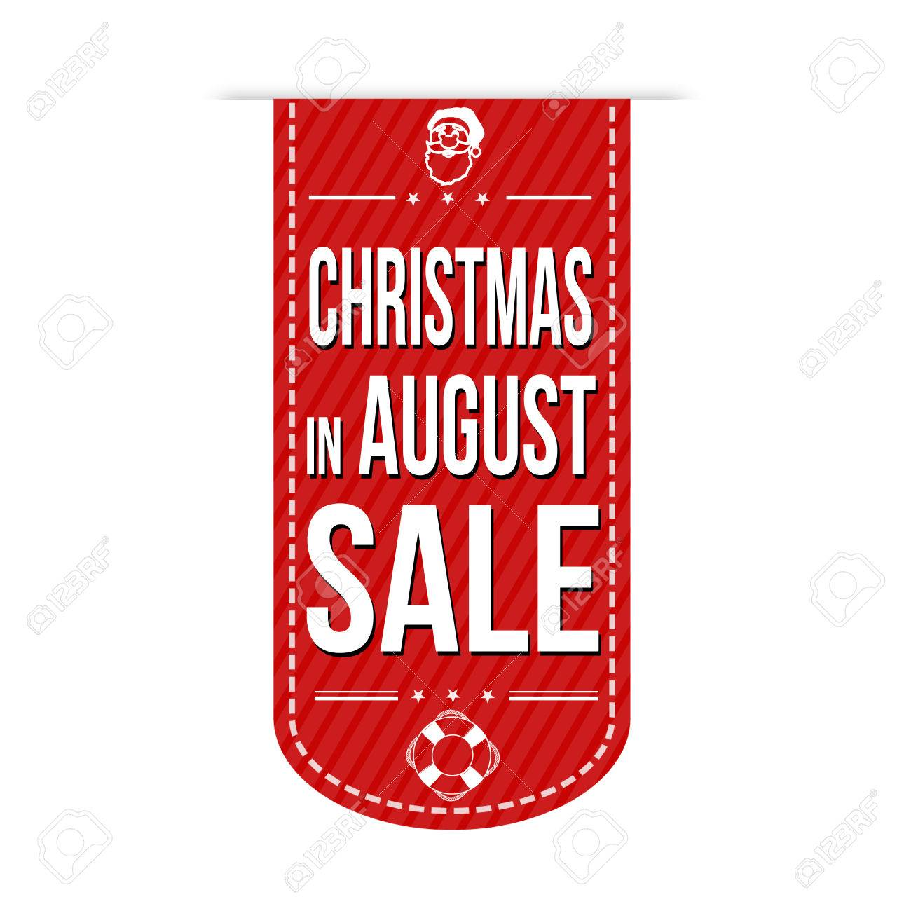 Christmas In August Clipart.Christmas In August Sale Banner Design Over A White Background