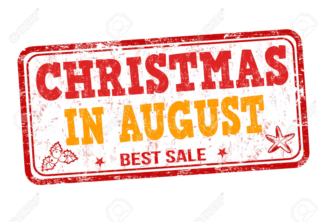 Christmas In August Clipart.Christmas In August Grunge Rubber Stamp On White