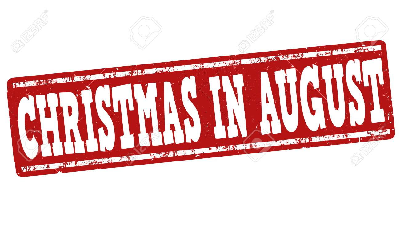 Christmas In August Poster.Christmas In August Grunge Rubber Stamp On White