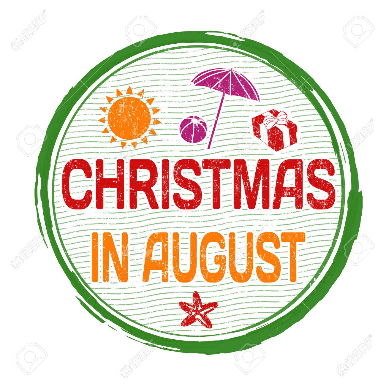 Christmas Music In August.Christmas In August Grunge Rubber Stamp On White