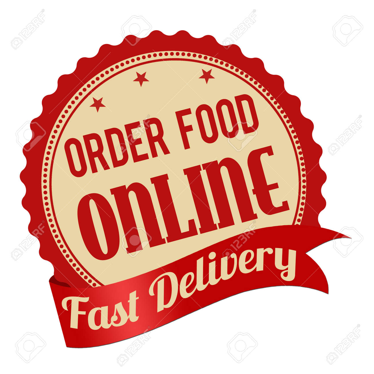Order food online promotional label sticker or stamp on white background stock vector 42656548