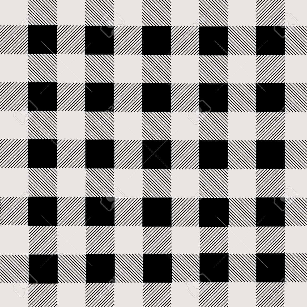Black and white lumberjack plaid seamless pattern, vector illustration - 47616245