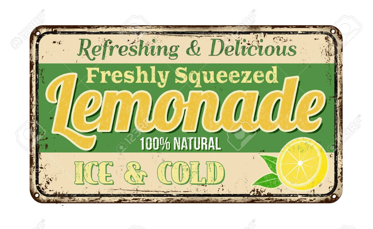 lemonade vintage rusty metal sign on a white background vector