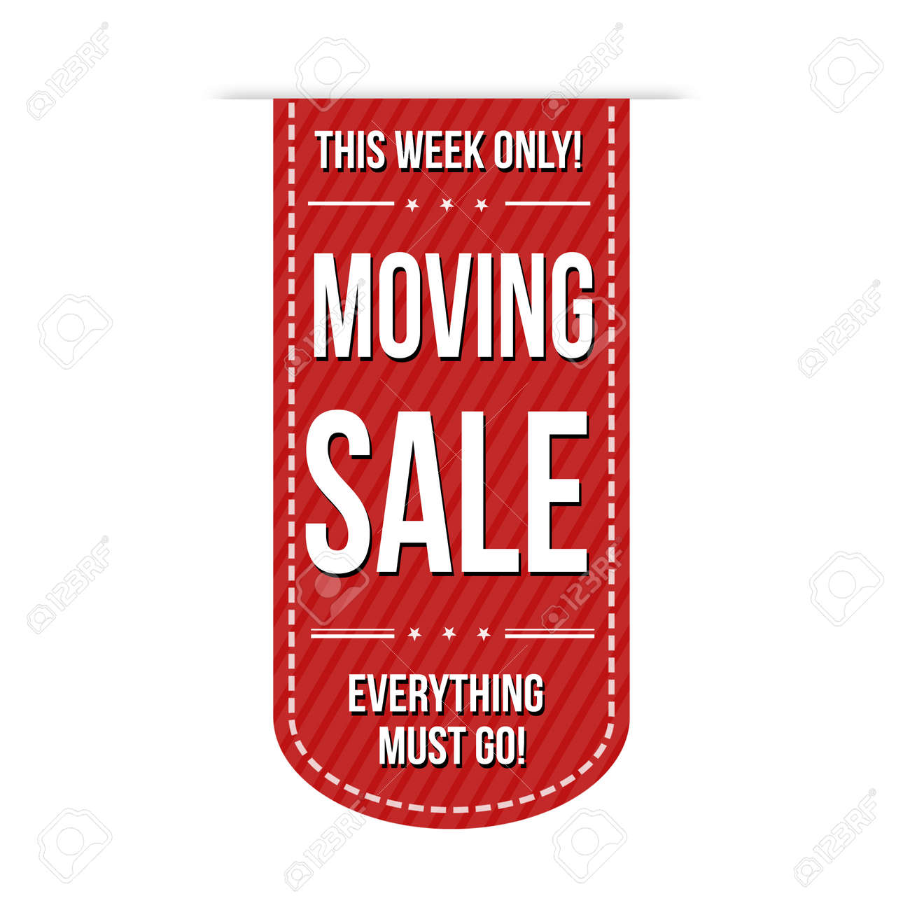 moving sale banner design over a white background vector