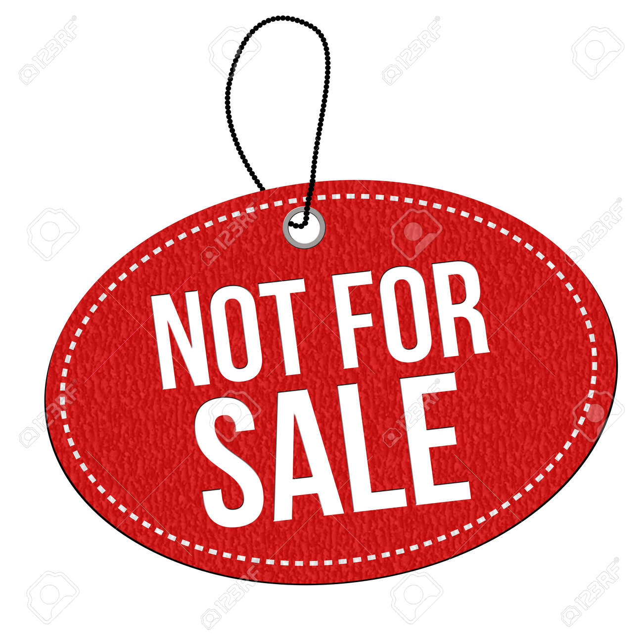 Not For Sale >> Not For Sale Red Leather Label Or Price Tag On White Background