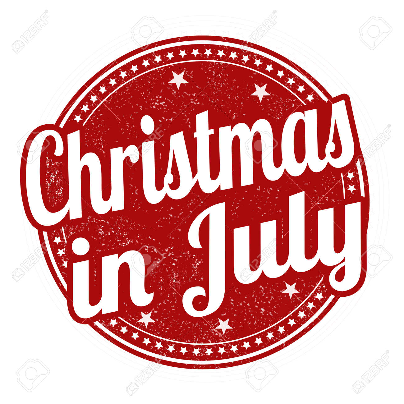 Christmas In July Free Image.Christmas In July Grunge Rubber Stamp On White Background Vector