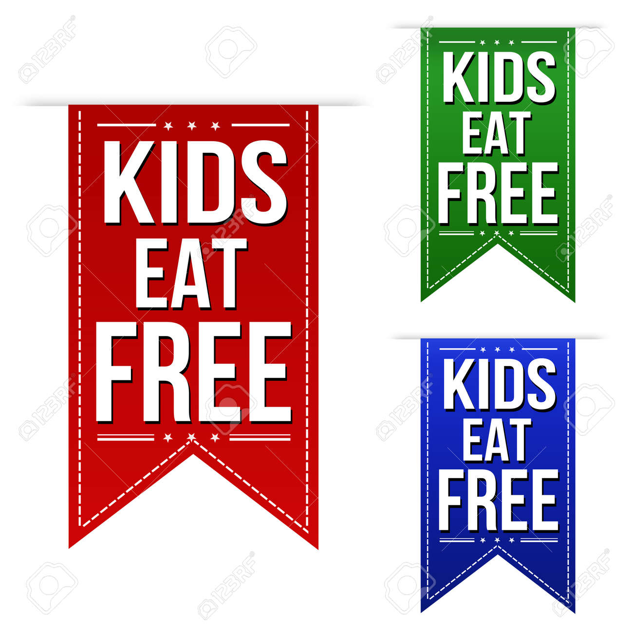 kids eat free banners design set over a white background royalty