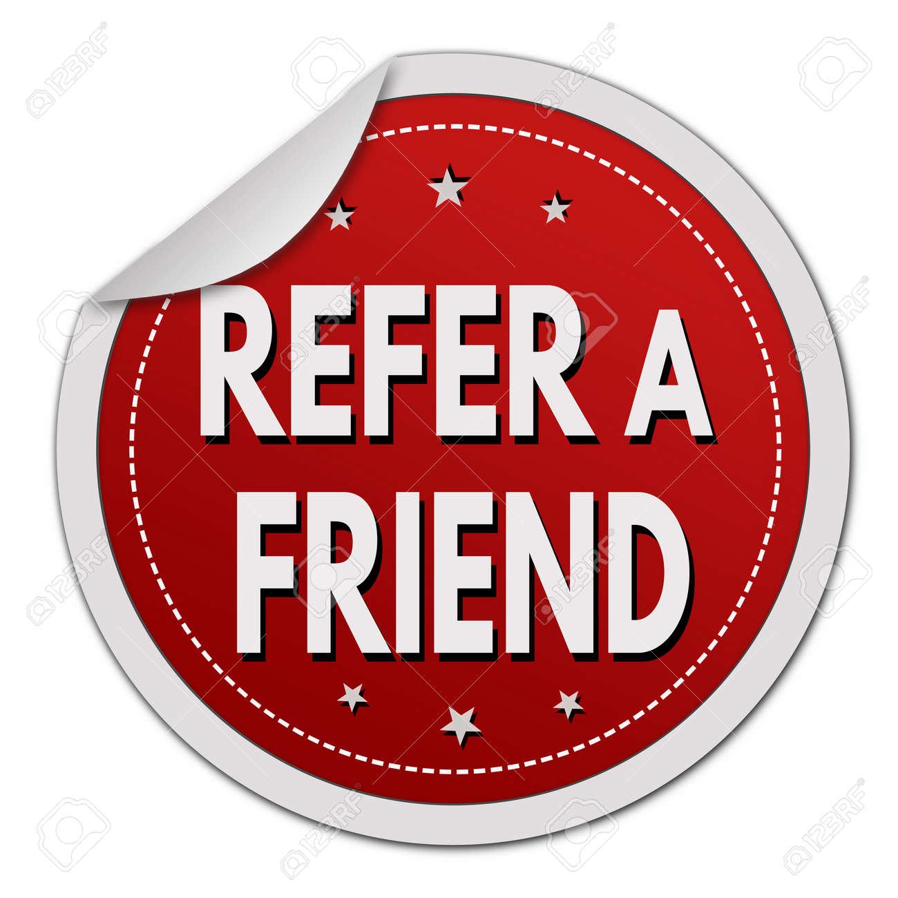 Refer a friend sticker on white background, vector illustration - 66147881