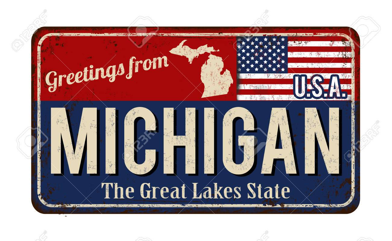 Greetings from michigan vintage rusty metal sign on a white greetings from michigan vintage rusty metal sign on a white background vector illustration stock vector m4hsunfo