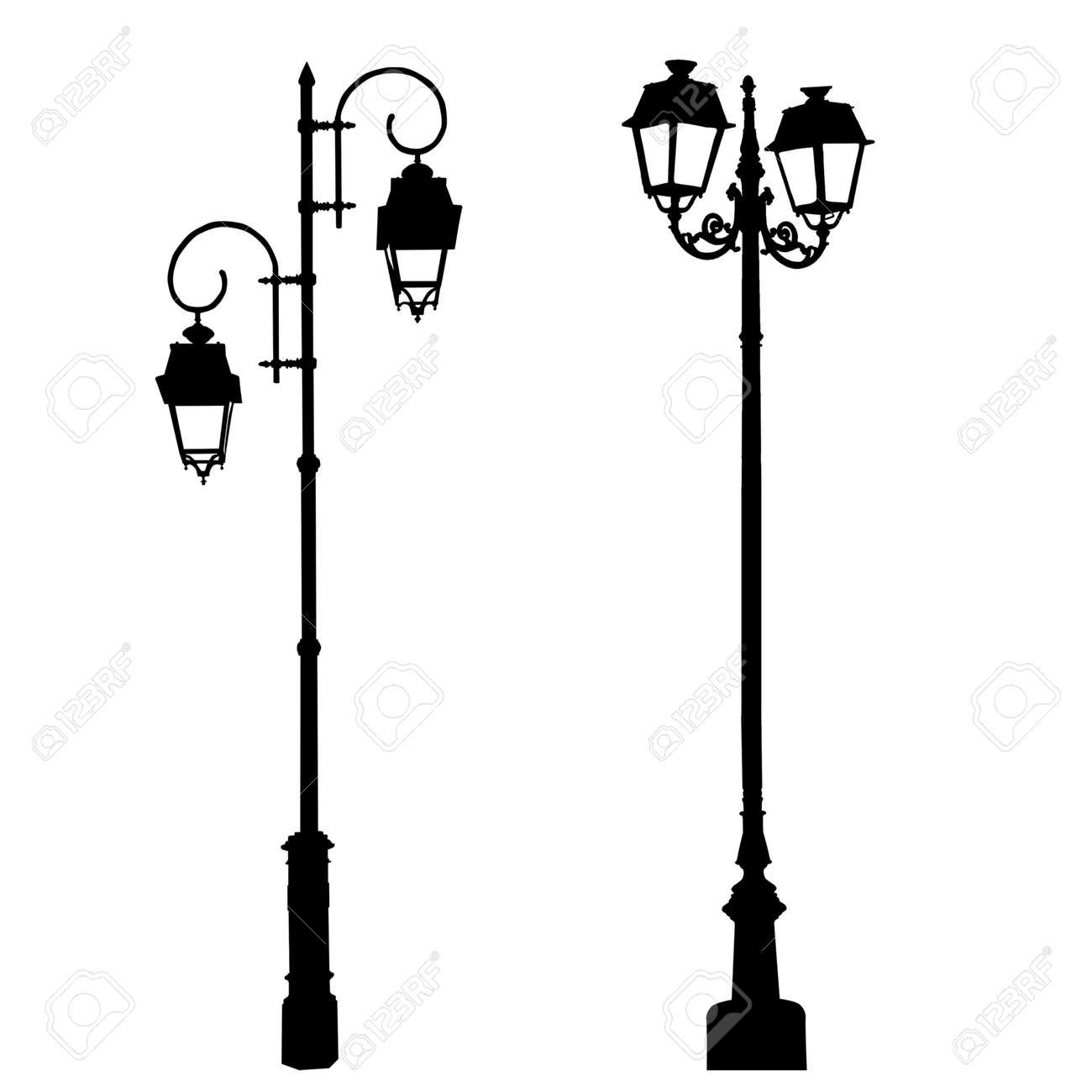 Silhouettes Of Decorative Lamppost On White Background, Vector ... for Street Lamp Post Vector  54lyp