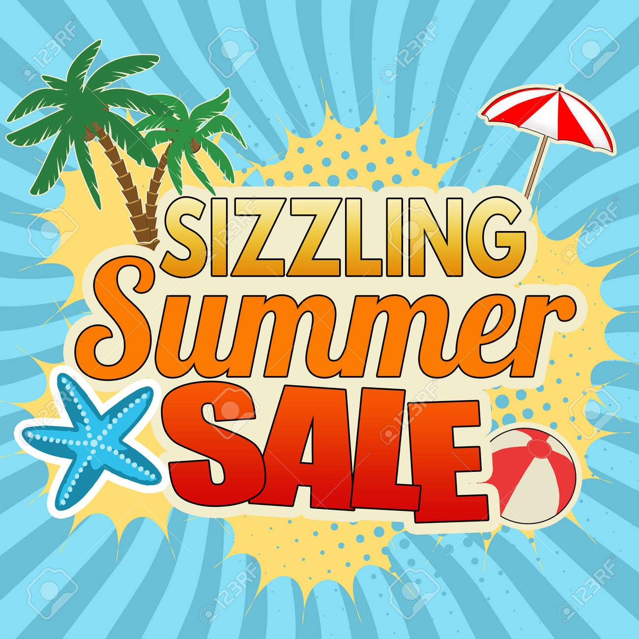 Sizzling summer sale advertising poster design on blue, vector illustration - 81559311