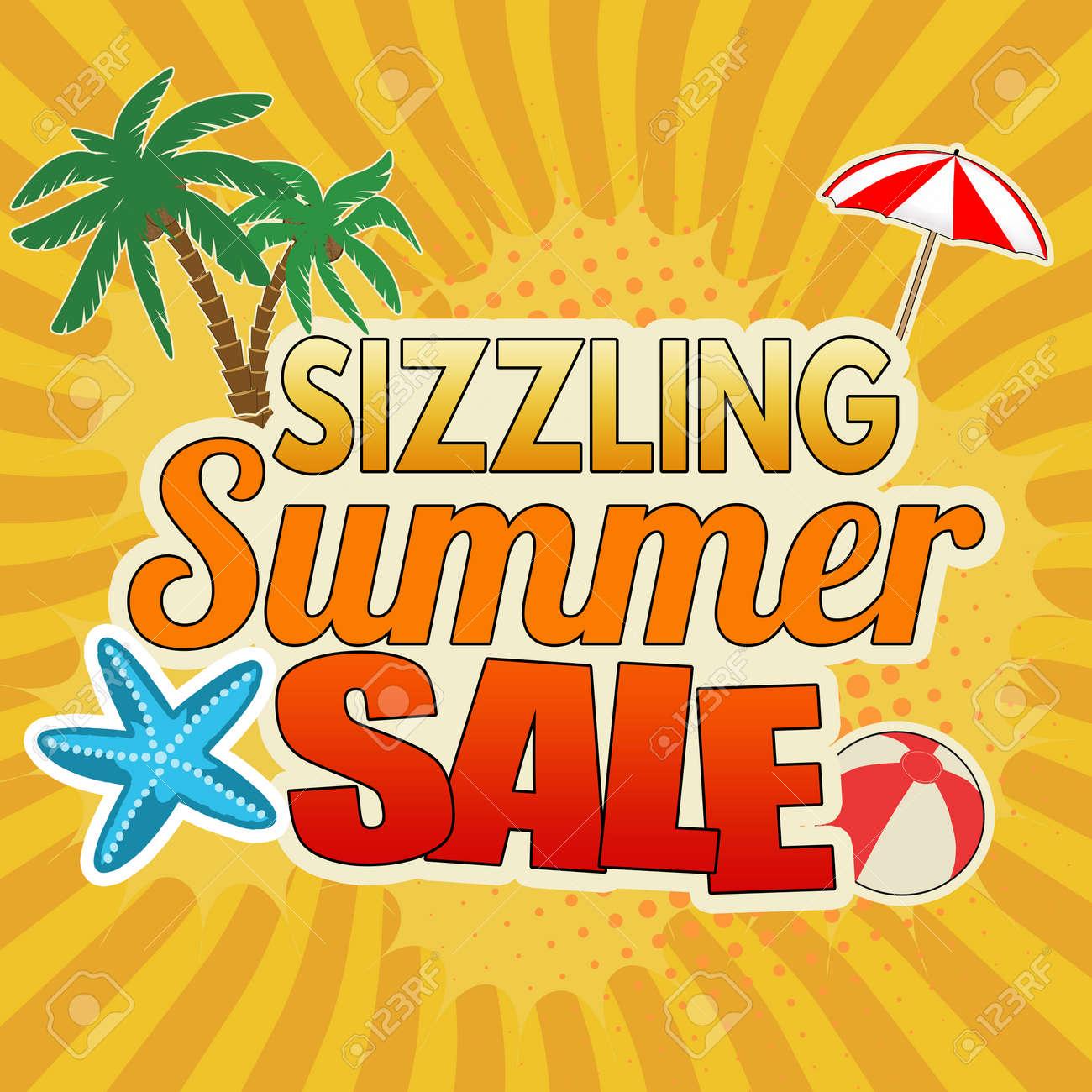 Sizzling summer sale advertising poster design on orange background, vector illustration - 81477252
