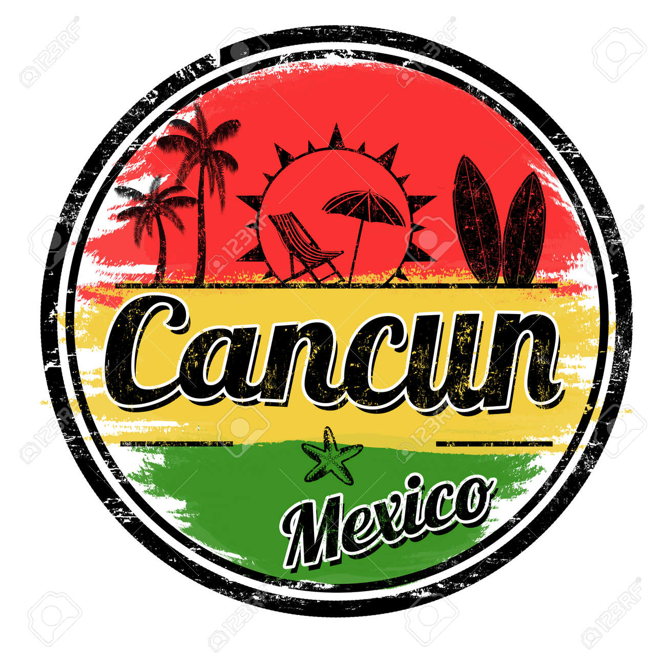 Cancun Sign Or Stamp On White Background Vector Illustration