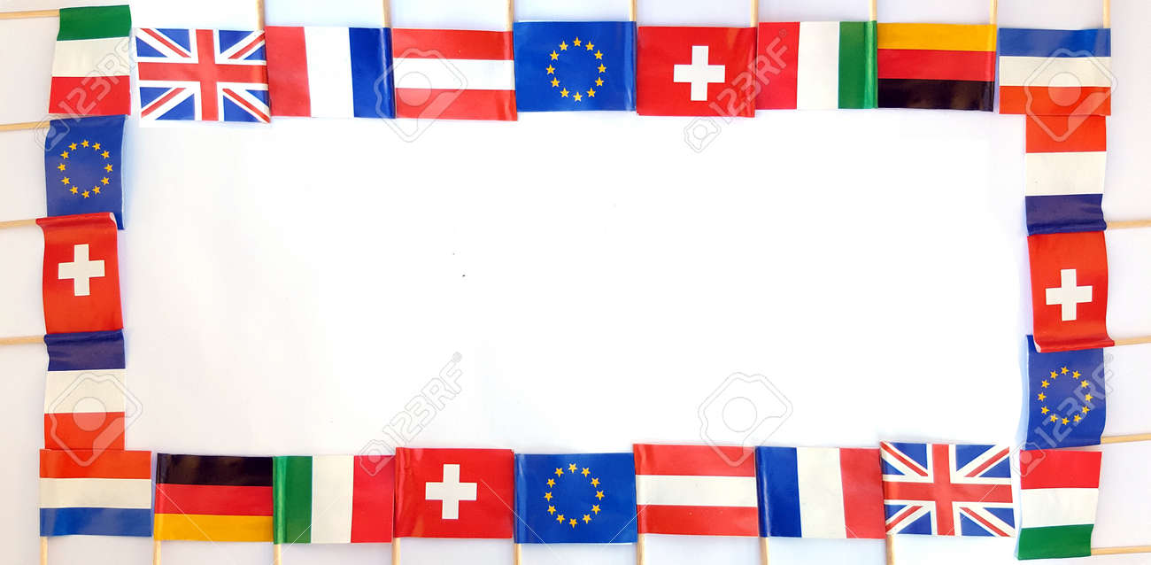 National Flags Of Different Countries Frame On White Background ...